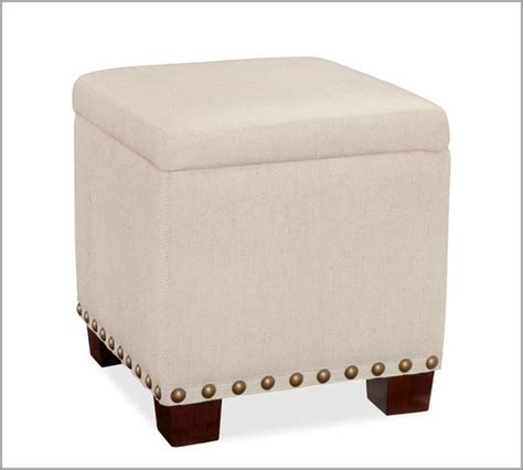 Upholstered Cube Storage Ottoman Raleigh Upholstered Storage Cube With Nailhead Contemporary Footstools And Ottomans By