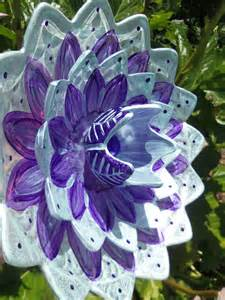 Upcycled Yard Decor Pearlized Glass Plate Flower Garden Art Hand Painted In Blue