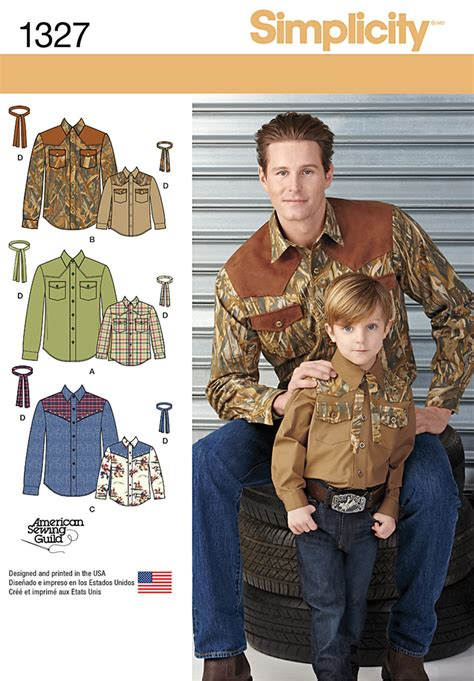 pattern western shirt simplicity 1327 boys and men s western shirt and tie