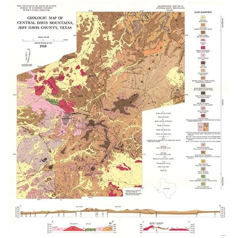 mountains in texas map gq0036 igneous geology of the central davis mountains jeff davis county texas the bureau store