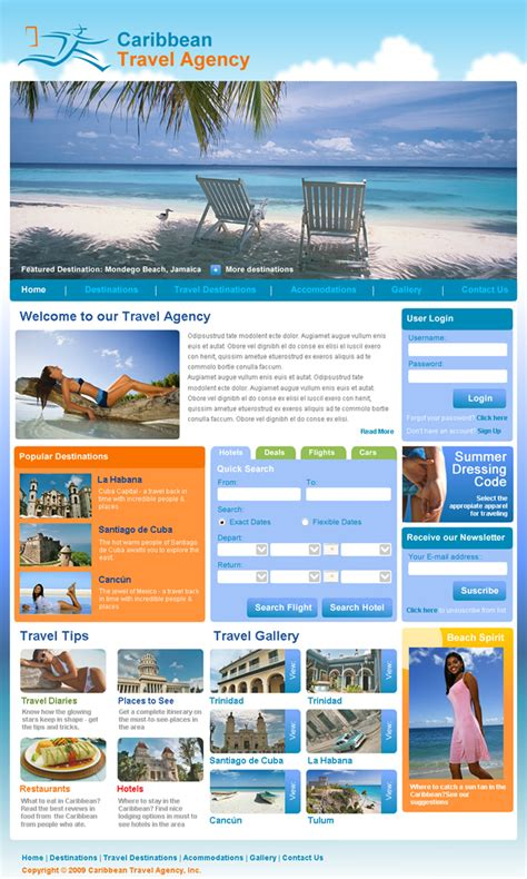 Travel Agency Dreamweaver Templates Travel Template