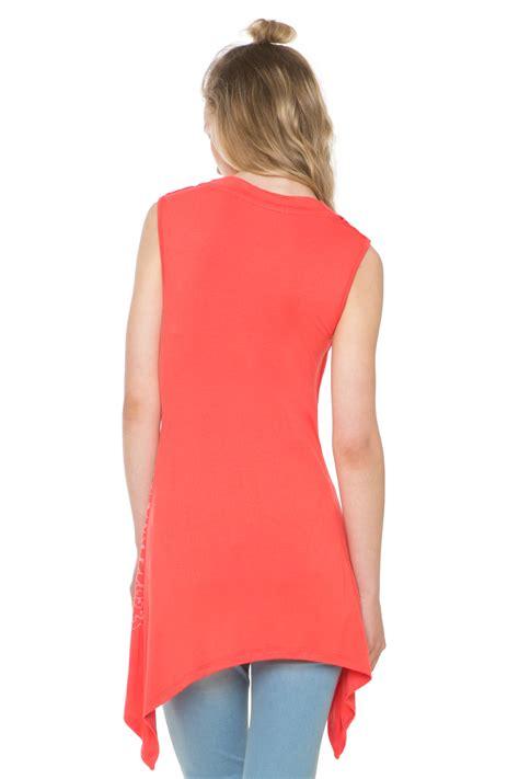 draped neck desigual sleeveless draped neck montseny top s xxl orange