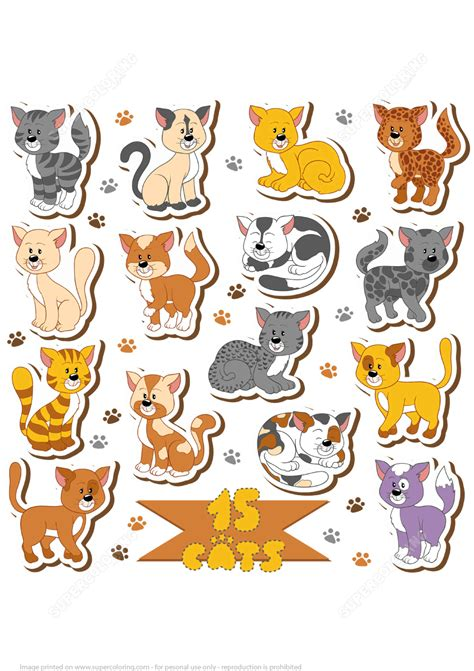 printable cat stickers printable cats stickers free printable papercraft templates