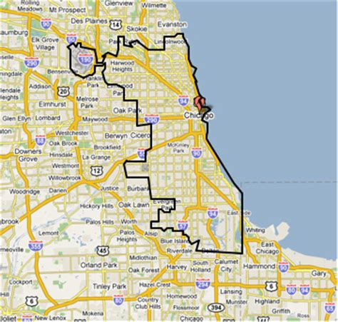 chicago city limits map chicago boundary flickr photo