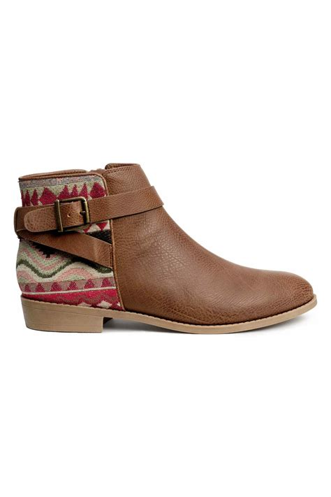 h and m boots h m ankle boots in brown brown patterned lyst