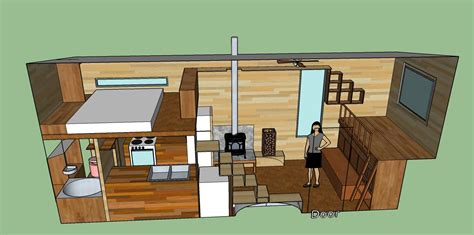 home design 3d trailer tiny house design with a cantilevered area a spare bed doubling as a could slide out