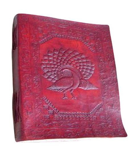 Handmade Diary Cover - handmade leather cover diary peacock embossed size