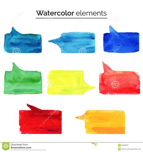 design elements watercolor watercolor design elements colorful isolated aquarelle