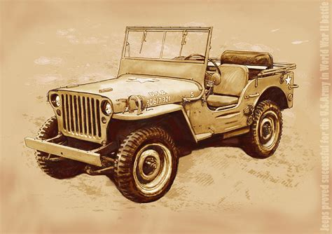 jeep artwork us army jeep in world war 2 stylised modern drawing art