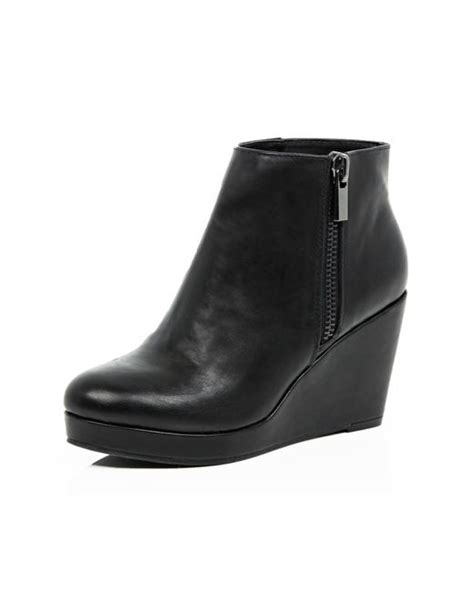 river island black wedge heel ankle boots in black save