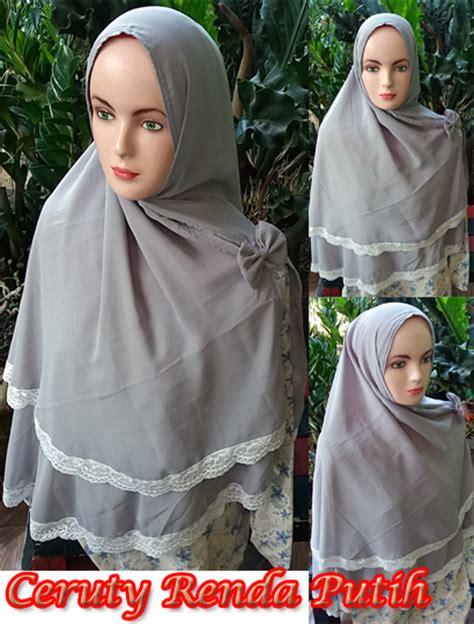 Jilbab Khimar Putih khimar ceruty renda putih sg jilbab sentral grosir jilbab kerudung i supplier jilbab i