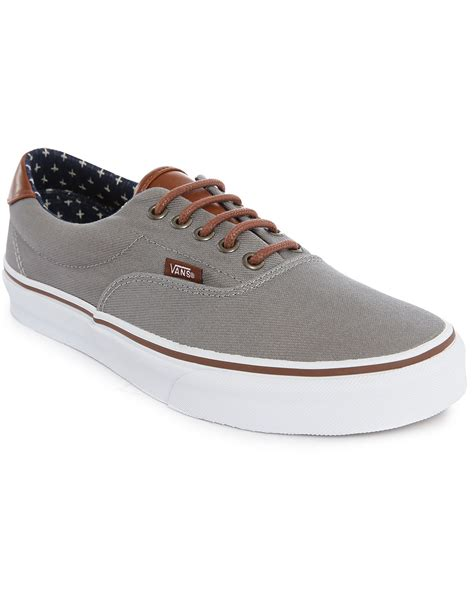 Vans Brownish Grey Shoes vans era grey canvas leather sneakers in gray for lyst