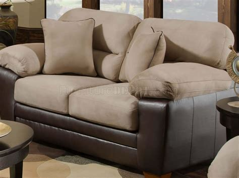 microfiber or leather sofa mocha microfiber sofa loveseat set w bonded leather base