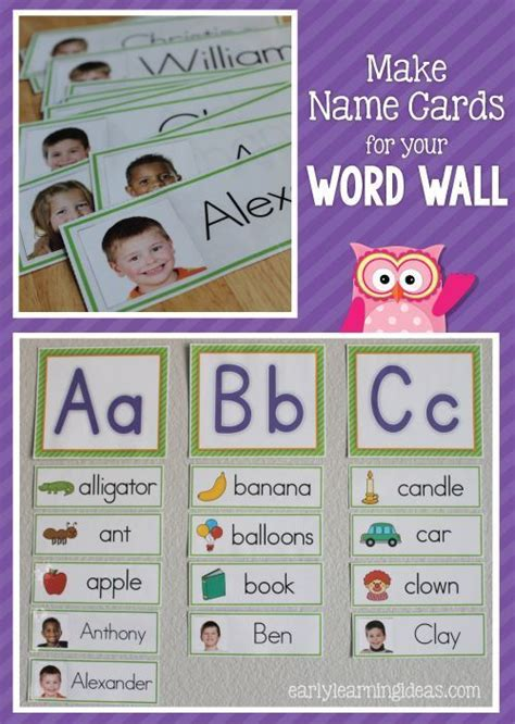 Activity Cards Maker Template by Name Cards Make Name Cards For Your Word Wall Classroom