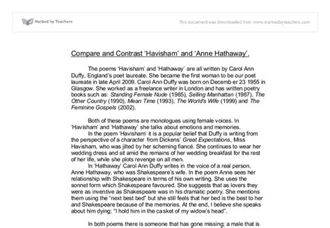 Miss Havisham Essay by Compare And Contrast Havisham And Hathaway By Carol Duffy Gcse Marked By