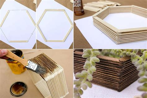 membuat hiasan dinding dari kayu bekas cara membuat hiasan dinding buatan sendiri mini hexagonal