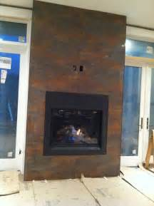 Rust Fireplace by Fireplace Tile Looks Like Rusted Metal Home Ideas