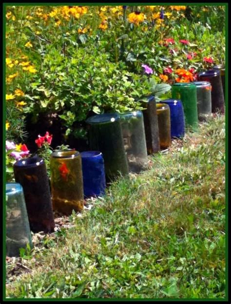 glass bottles   garden