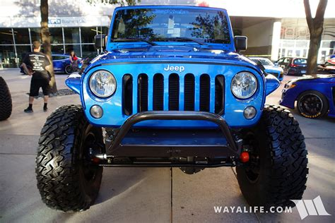 blue jeep 2 door 2015 sema blue jeepworks rock krawler jeep jk wrangler