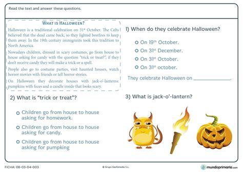 preguntas y respuestas de halloween ficha de comprender el texto de halloween para primaria