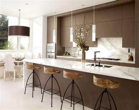 Kitchen Island With Barstools | 15 ideas for wooden base stools in kitchen bar decor