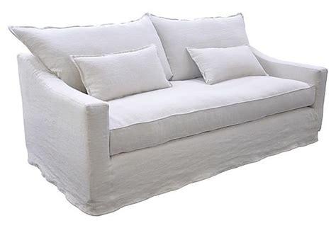 white linen couch covers debbie 84 quot linen slipcover sofa white
