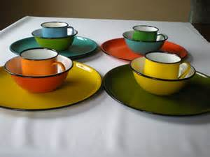 reduced price enamelware 12 pc set multi color dinnerware