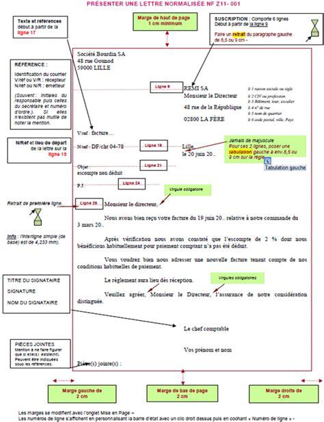 Presentation Normalisee De La Lettre Commerciale apprendre word