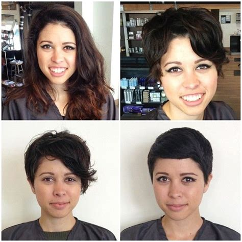 from long hair to short hair before and after long to short great pixie transformations pinterest