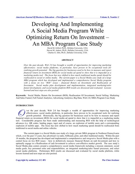 Us News Mba Return On Investment by Developing And Implementing A Social Pdf