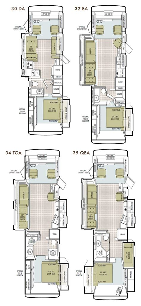 class a motorhome floor plans tiffin allegro class a motorhome floorplans large picture