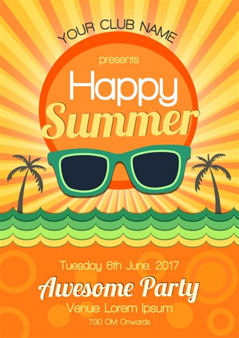 summer parties summer party poster design vector free download