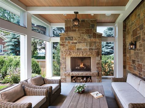 screen porch with fireplace a country house in the city midwest home magazine