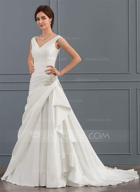 beading a wedding dress a line princess v neck court train satin wedding dress