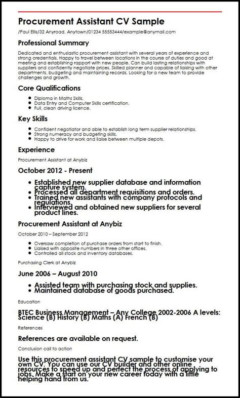 procurement format cv templates procurement assistant cv sle myperfectcv