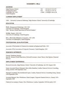 university lecturer in marketing position resume sample