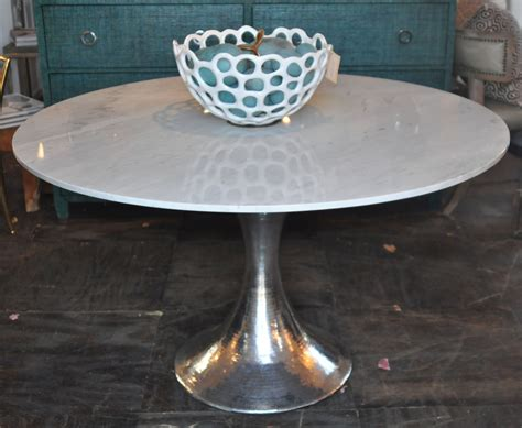 hammered metal table l 52 stone top dining table with hammered metal base