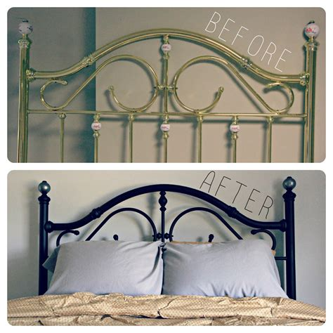 Painted Metal Bed Frame How To Spray Paint A Brass Bed So Excited To Show You That I T Even Attached It To Our