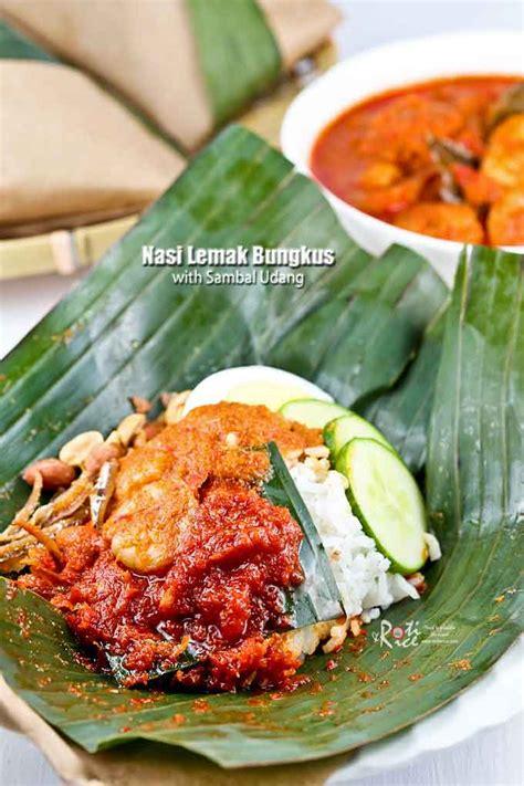 nasi lemak bungkus  sambal udang malaysian chinese