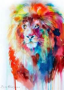 lions colors watercolor painting print by slaveika aladjova
