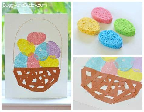 easy easter craft painting eggs easter crafts for sponge painted easter egg basket