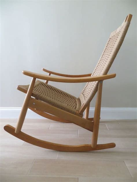 hans wegner style rope rocking chair reserved mid century modern rope rocking chair