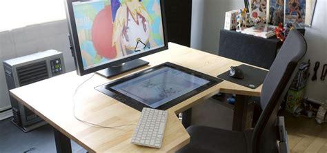 artist desk japanese artist builds custom cintiq embedded desk