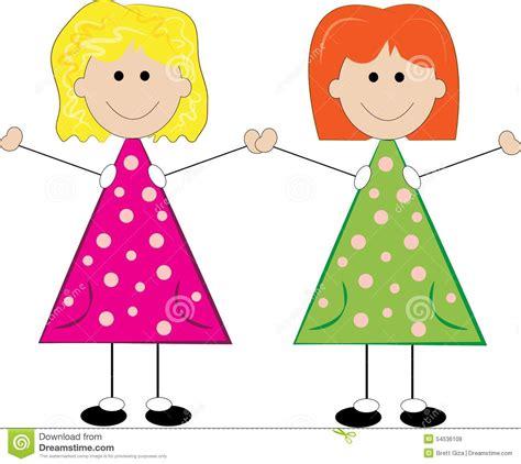 little girls can be stick girls stock illustration image 54536109