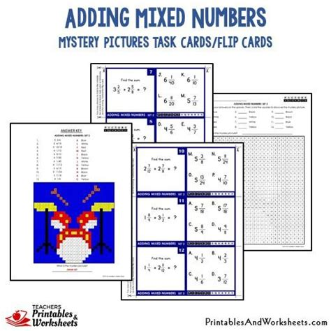 printable mixed number cards adding mixed numbers mystery picture task cards with