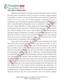 Essays On The Great Depression by Great Depression Essay Sle