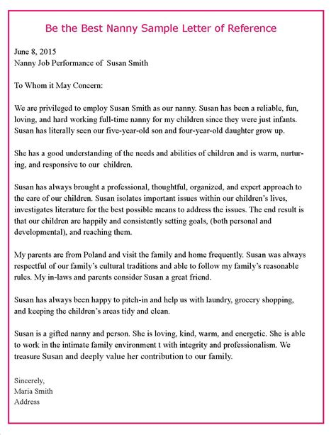Recommendation Letter Sle Nanny help parents write a letter of reference importance of