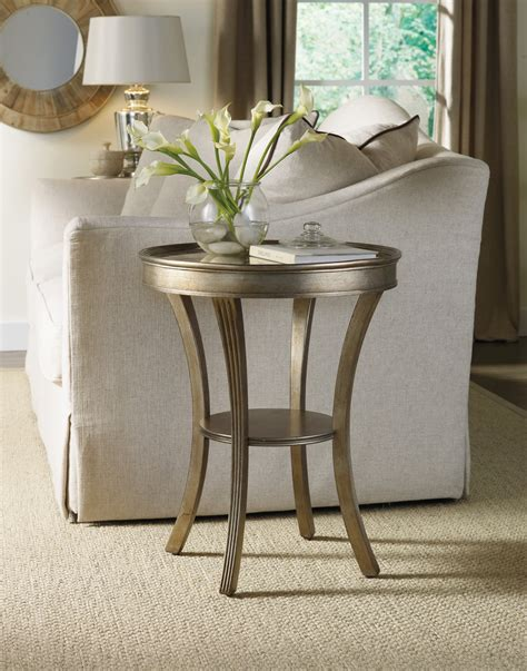 mirror accent tables hooker furniture living room sanctuary round mirrored