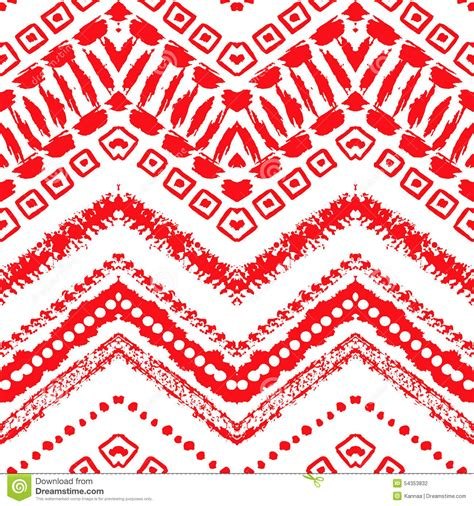 red white pattern zigzag hand drawn painted seamless pattern vector stock vector