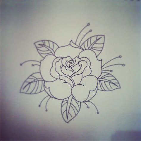 old rose tattoo traditional traditional linework